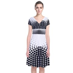 Black White Polkadots Line Polka Dots Short Sleeve Front Wrap Dress by Mariart
