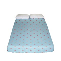 Blue Red Circle Polka Fitted Sheet (full/ Double Size) by Mariart