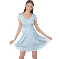Blue Red Circle Polka Cap Sleeve Dresses