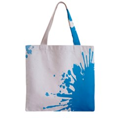 Blue Stain Spot Paint Zipper Grocery Tote Bag by Mariart