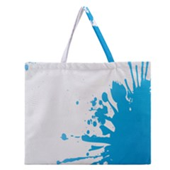 Blue Stain Spot Paint Zipper Large Tote Bag by Mariart