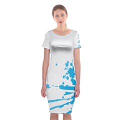 Blue Stain Spot Paint Classic Short Sleeve Midi Dress by Mariart