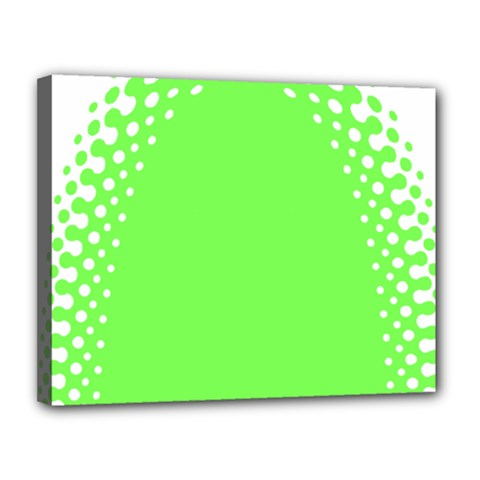 Bubble Polka Circle Green Canvas 14  X 11  by Mariart