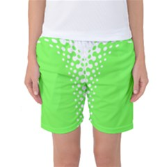 Bubble Polka Circle Green Women s Basketball Shorts