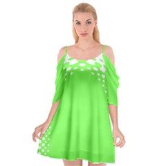Bubble Polka Circle Green Cutout Spaghetti Strap Chiffon Dress