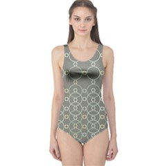 Circles Grey Polka One Piece Swimsuit by Mariart
