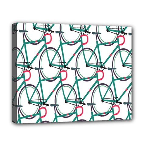 Bicycle Cycling Bike Green Sport Deluxe Canvas 20  X 16   by Mariart