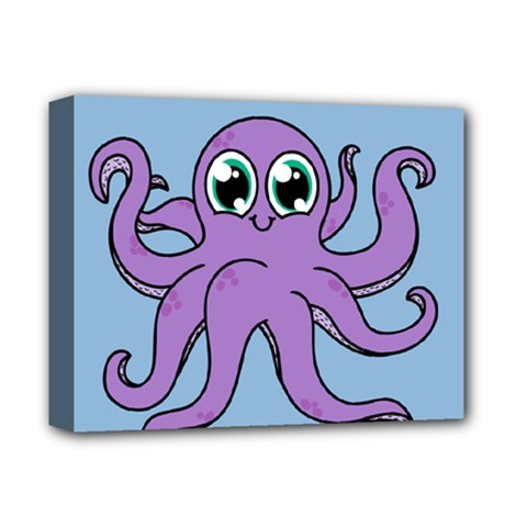 Colorful Cartoon Octopuses Pattern Fear Animals Sea Purple Deluxe Canvas 14  X 11  by Mariart