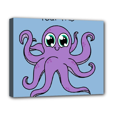 Colorful Cartoon Octopuses Pattern Fear Animals Sea Purple Deluxe Canvas 20  X 16   by Mariart