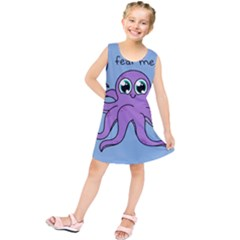 Colorful Cartoon Octopuses Pattern Fear Animals Sea Purple Kids  Tunic Dress by Mariart
