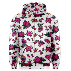 Crown Red Flower Floral Calm Rose Sunflower White Men s Zipper Hoodie by Mariart