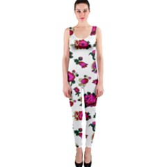 Crown Red Flower Floral Calm Rose Sunflower White Onepiece Catsuit