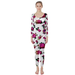 Crown Red Flower Floral Calm Rose Sunflower White Long Sleeve Catsuit