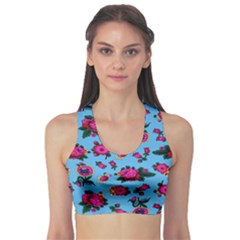Crown Red Flower Floral Calm Rose Sunflower Sports Bra