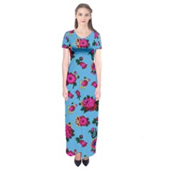 Crown Red Flower Floral Calm Rose Sunflower Short Sleeve Maxi Dress