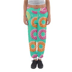Doughnut Bread Donuts Green Women s Jogger Sweatpants by Mariart
