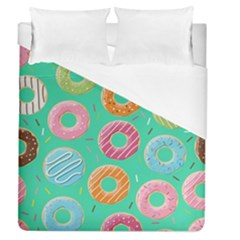 Doughnut Bread Donuts Green Duvet Cover (queen Size) by Mariart