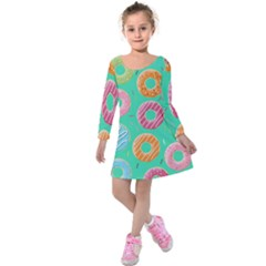 Doughnut Bread Donuts Green Kids  Long Sleeve Velvet Dress by Mariart