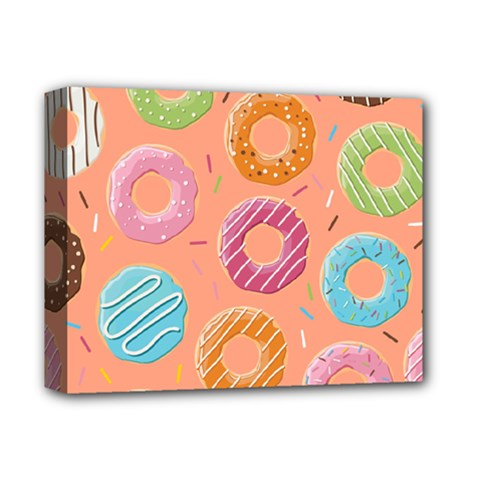 Doughnut Bread Donuts Orange Deluxe Canvas 14  X 11  by Mariart