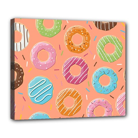 Doughnut Bread Donuts Orange Deluxe Canvas 24  X 20   by Mariart