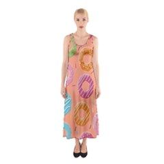 Doughnut Bread Donuts Orange Sleeveless Maxi Dress