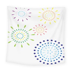 Fireworks Illustrations Fire Partty Polka Square Tapestry (large) by Mariart