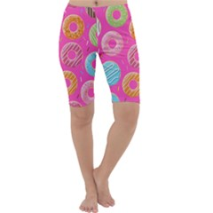 Doughnut Bread Donuts Pink Cropped Leggings  by Mariart