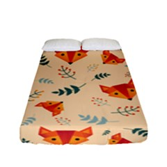 Foxes Animals Face Orange Fitted Sheet (full/ Double Size) by Mariart