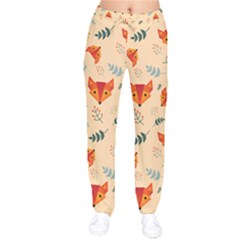 Foxes Animals Face Orange Drawstring Pants by Mariart