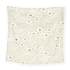 Flower Floral Leaf Square Tapestry (large) by Mariart