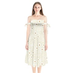 Flower Floral Leaf Shoulder Tie Bardot Midi Dress by Mariart