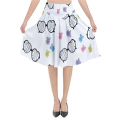 Glasses Bear Cute Doll Animals Flared Midi Skirt by Mariart