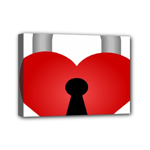Heart Padlock Red Love Mini Canvas 7  X 5  by Mariart