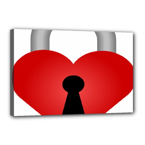 Heart Padlock Red Love Canvas 18  X 12