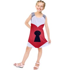 Heart Padlock Red Love Kids  Tunic Dress by Mariart