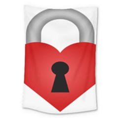 Heart Padlock Red Love Large Tapestry by Mariart