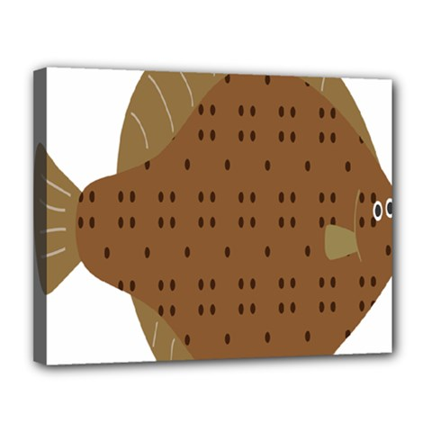 Illustrain Animals Reef Fish Sea Beach Water Seaword Brown Polka Canvas 14  X 11  by Mariart