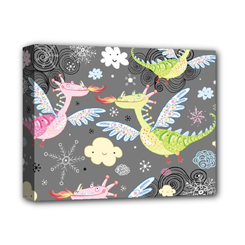 Dragonfly Animals Dragom Monster Fair Cloud Circle Polka Deluxe Canvas 14  X 11  by Mariart