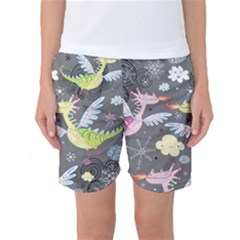 Dragonfly Animals Dragom Monster Fair Cloud Circle Polka Women s Basketball Shorts by Mariart