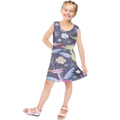 Dragonfly Animals Dragom Monster Fair Cloud Circle Polka Kids  Tunic Dress by Mariart