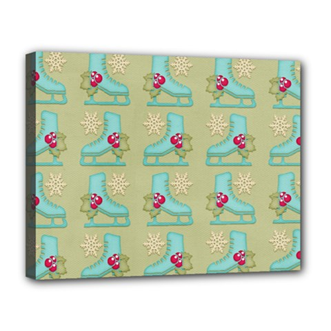 Ice Skates Background Christmas Canvas 14  X 11  by Mariart