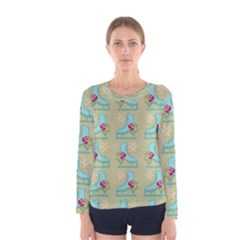 Ice Skates Background Christmas Women s Long Sleeve Tee by Mariart