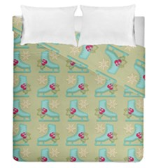 Ice Skates Background Christmas Duvet Cover Double Side (queen Size) by Mariart