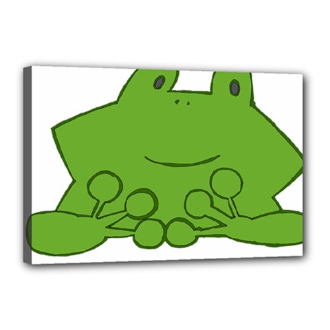 Illustrain Frog Animals Green Face Smile Canvas 18  X 12  by Mariart