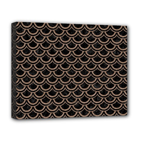 Scales2 Black Marble & Brown Colored Pencil Deluxe Canvas 20  X 16  (stretched) by trendistuff