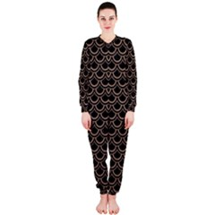 Scales2 Black Marble & Brown Colored Pencil Onepiece Jumpsuit (ladies) by trendistuff