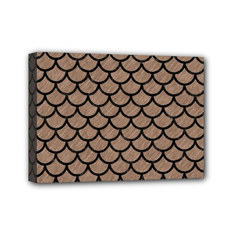 Scales1 Black Marble & Brown Colored Pencil (r) Mini Canvas 7  X 5  (stretched) by trendistuff