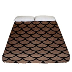 Scales1 Black Marble & Brown Colored Pencil (r) Fitted Sheet (queen Size) by trendistuff