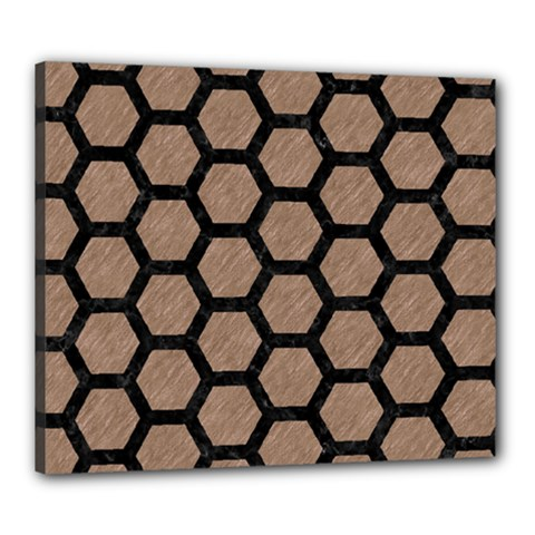 Hexagon2 Black Marble & Brown Colored Pencil (r) Canvas 24  X 20  (stretched) by trendistuff