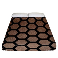 Hexagon2 Black Marble & Brown Colored Pencil (r) Fitted Sheet (california King Size) by trendistuff